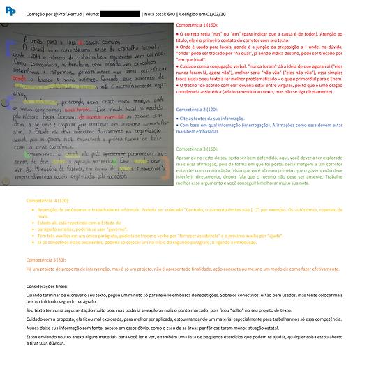 Exemplo de correção, com detalhamento e comentada