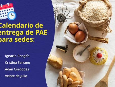 Información para la entrega del PAE - AGOSTO.