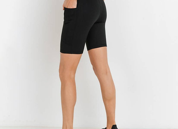 Black Shorts With White and Gold Band