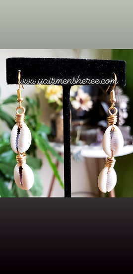 Double Cowrie Dangle Earrings
