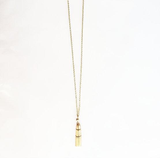 Brass Lipstick Pendant Necklace
