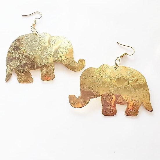 Brass Elephant Dangle Earrings