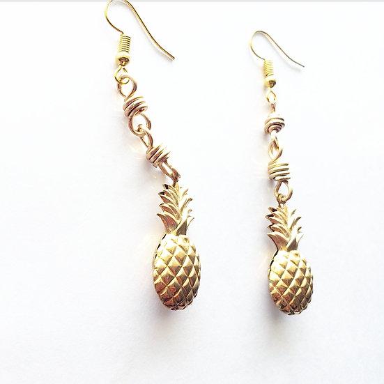 Brass Pineapple Link Earrings
