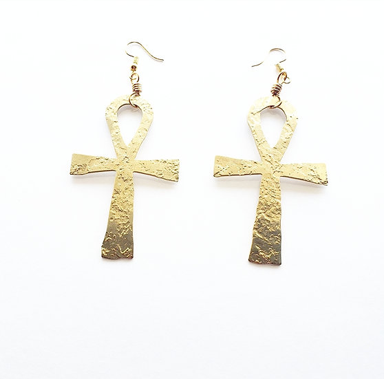 Hammered Brass Ankh Earrings