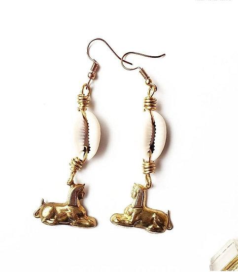 Brass Egyptian Sphinx + Cowrie Earrings