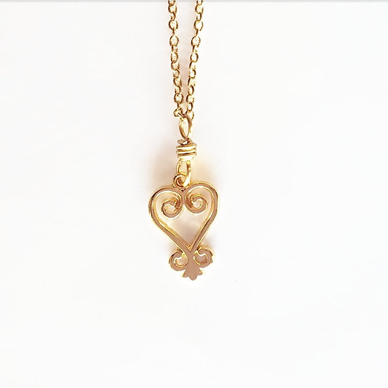 Brass Sankofa Adinkra Necklace