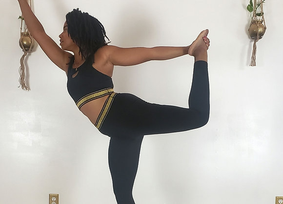 Black & Gold High Waisted Yoga Pant
