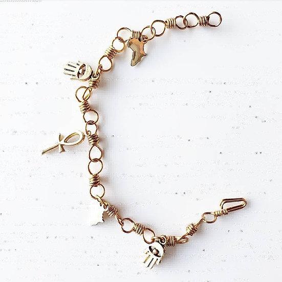 Mixed Brass Charm Bracelet