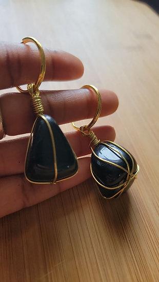 Obsidian Brass Wrapped Keychain