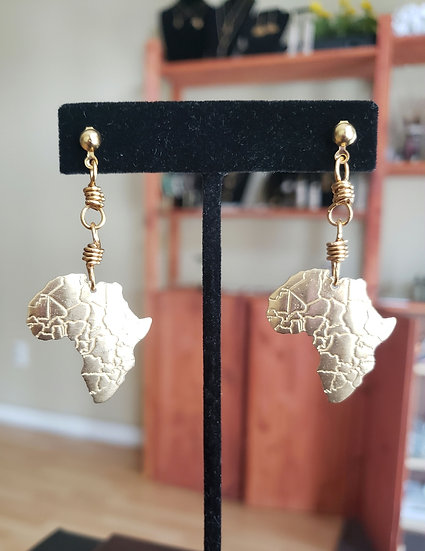 Brass Africa Dangle Earrings