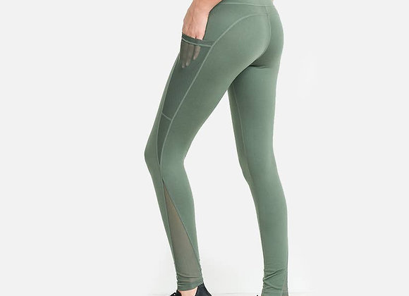 Solid Green Leggings with Mesh Pockets