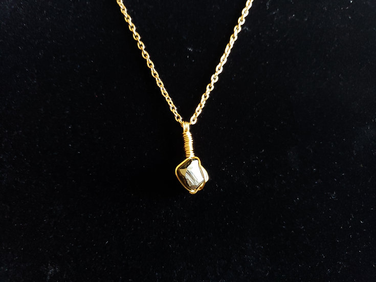 Pyrite Stone Wrapped in Brass Necklace