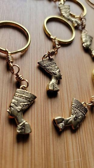 Brass Wrapped Nefertiti Keychain