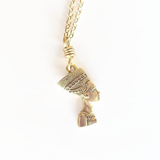 Brass Nefertiti Necklace with brass hook