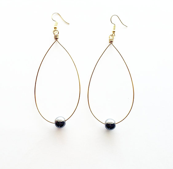 Hematite + Brass Hoop Earrings