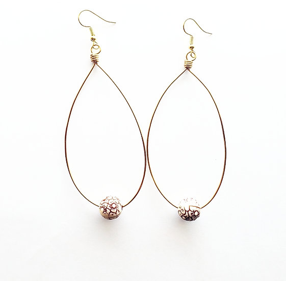 Champagne Flowered Beaded Brass Hoops