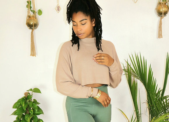 Cropped Soft Long Sleeve Top with Shallow Turtle Neck
