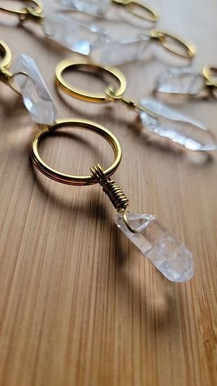 Clear Quartz & Brass-Wrapped Keychain