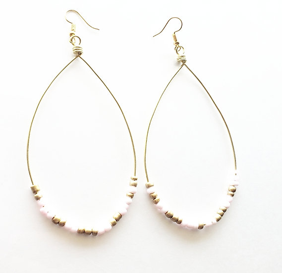 Pink + Gold + White Beaded Hoops