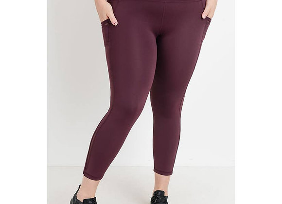 Maroon Solid Leggings