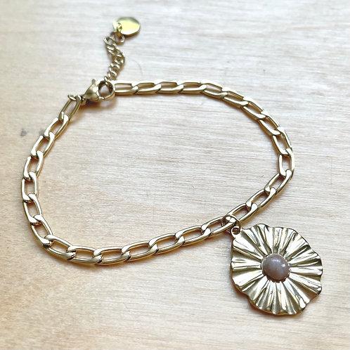 Bracelet fleurs rose