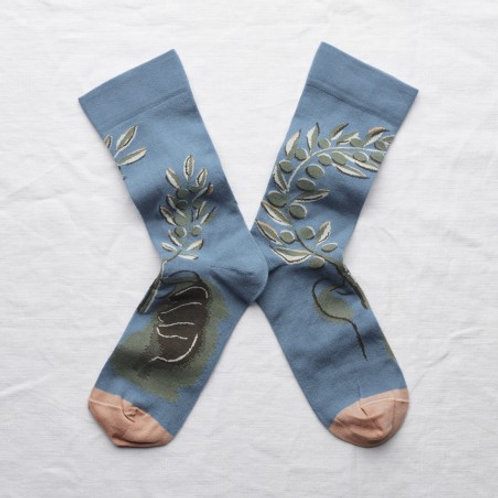 Chaussettes olivier bleu