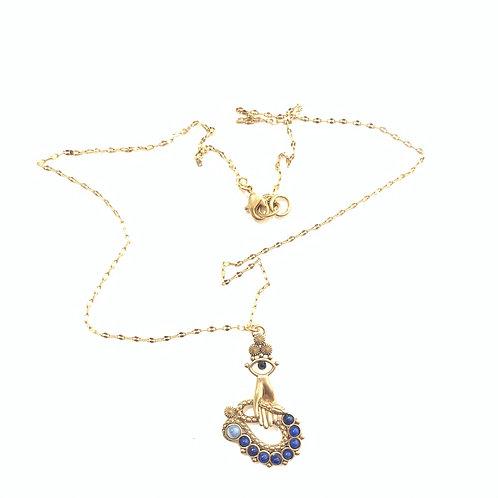 Collier Sacha main serpent lapis lazuli