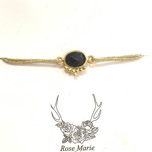 Bracelet fil et onyx