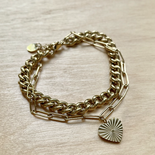 Bracelet double chaîne et coeur