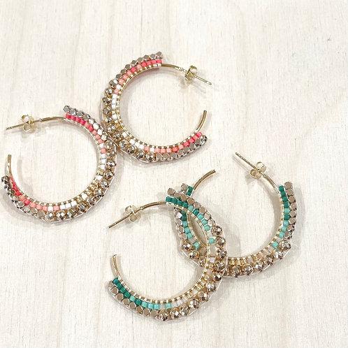 Créoles perles tissées