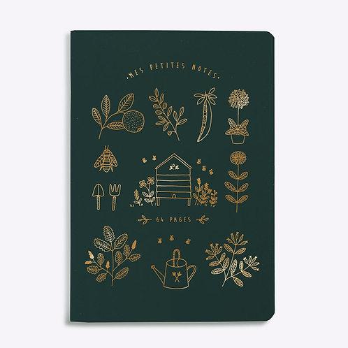 Cahier ligné mon jardin vert sapin