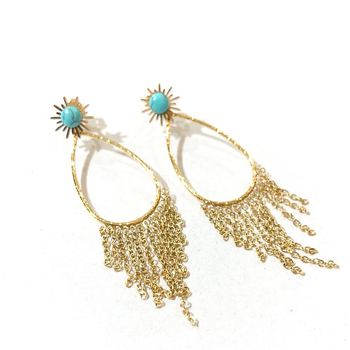 Boucles cascade turquoises