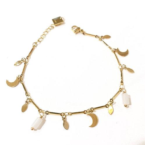 Bracelet lunes et agates blanches