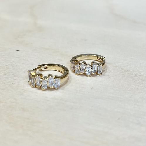 Mini créoles barrettes cristal