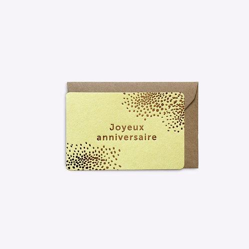 Mini carte joyeux anniversaire jaune