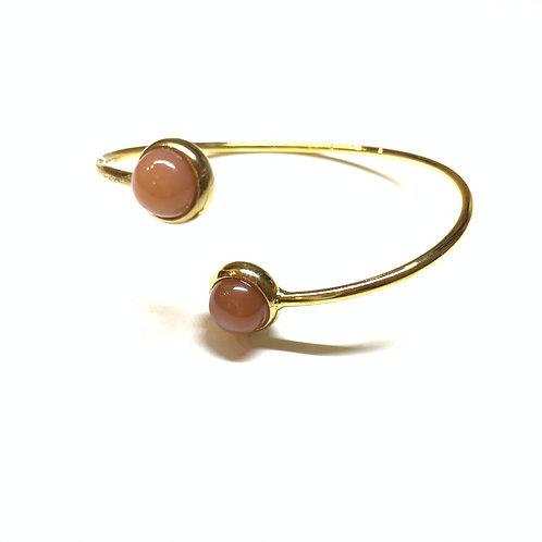 Bracelet cabochons pierre de lune rose