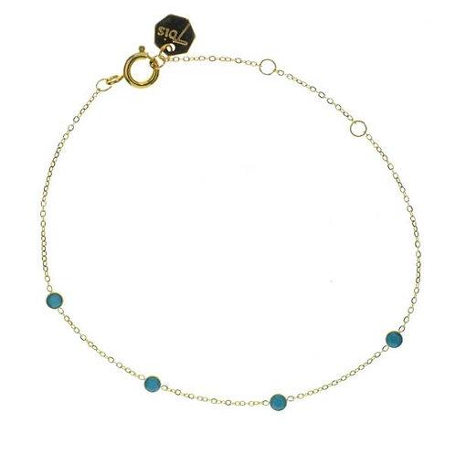 Bracelet acier points turquoises