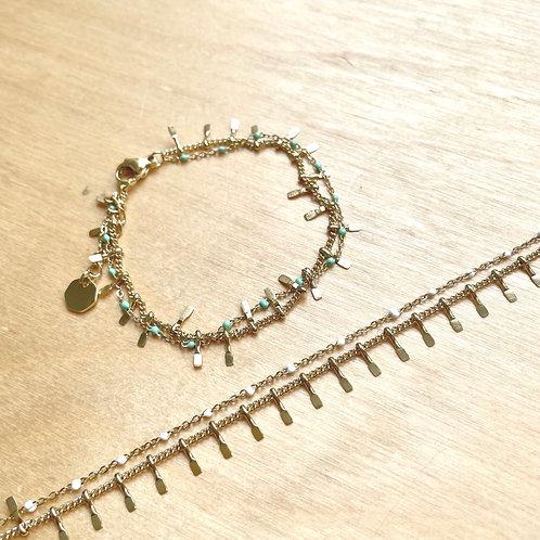 Bracelet lamelles et pierres