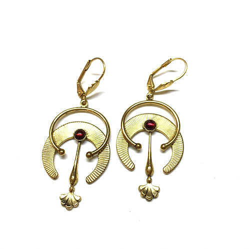 Boucles Antha grenat