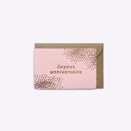 Mini carte joyeux anniversaire rose