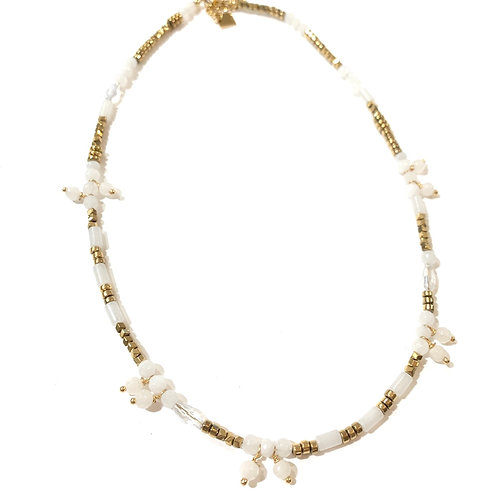 Collier pampilles blanches et or
