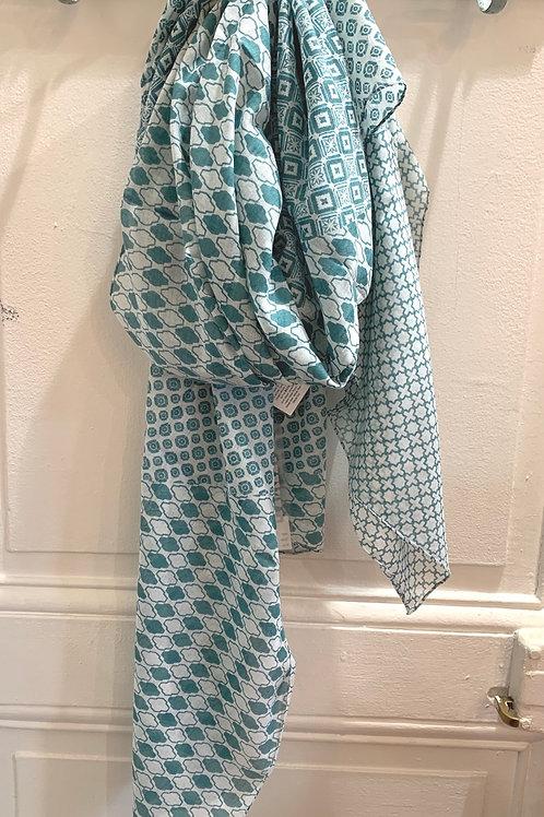 Étole coton motifs verts