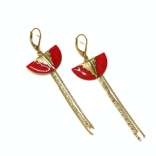 Boucles mini lune rouges