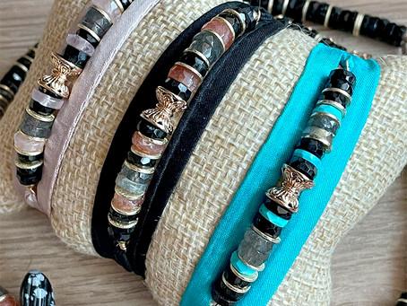 Bracelet jonc en pierre heishi et ruban de soie