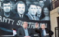 John Hume and Ivan Cooper at the unveiling of the new 'Civil rights' mural on 16th October 2015