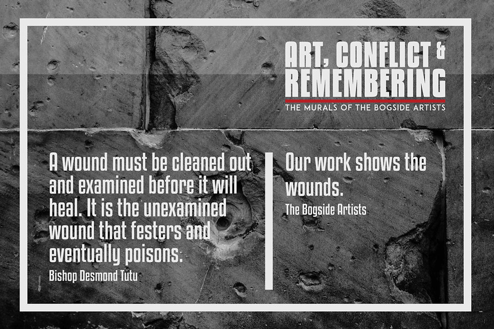 Opening banner of 'Art, Conflict & Remembering' exhibition