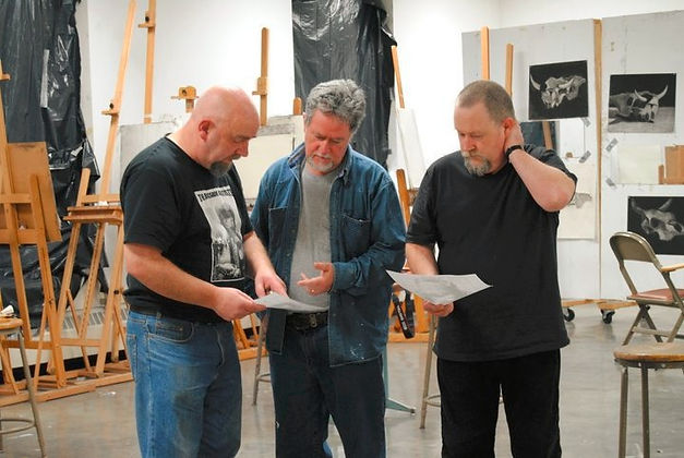 The Bogside Artists in their studio: (from left) Kevin Hasson, William Kelly and Tom Kelly