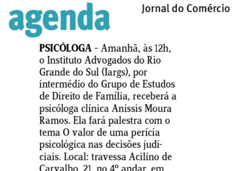 Palestra no IARGS - nota do Jornal do Comércio