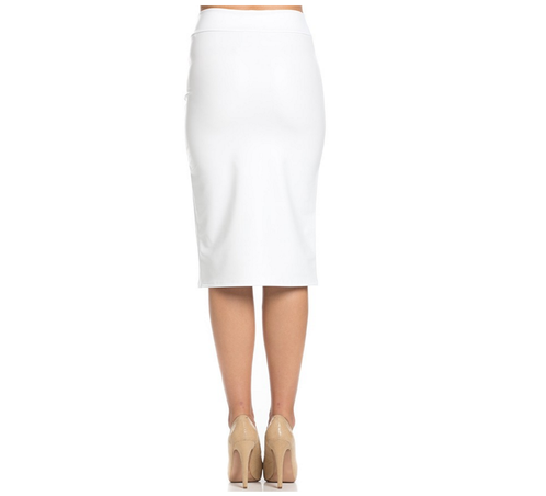 White Faux Leather Pencil Skirt | Winsome Sash Boutique