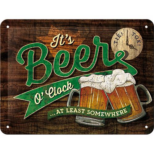 Beer O' Clock Glasses, Open Bar, Tin Sign 15 x 20cm